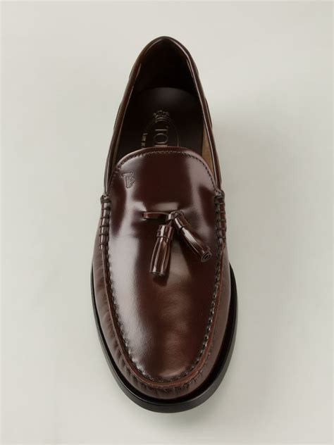 Tod's Leather Tassel Loafers in Brown for Men - Lyst