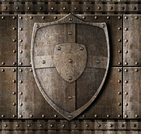 Metal Shield Over Armour Background Stock Image - Image of