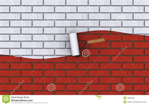 Red Brick Wall, Top Half Painted In White Stock
